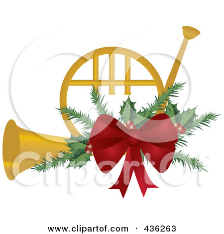 Christmas French Horn Clipart.