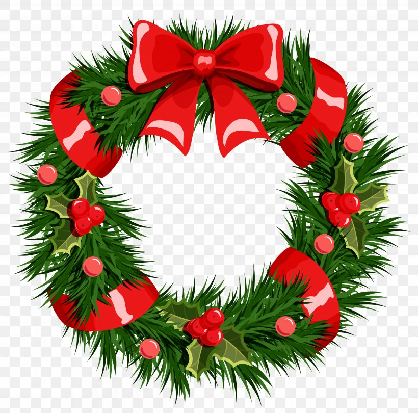 Wreath Christmas Garland Clip Art, PNG, 5130x5070px.
