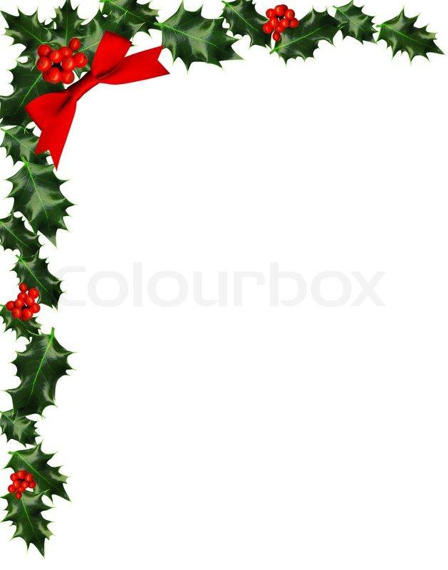 Christmas Holly Corner Border Clip Art free image.