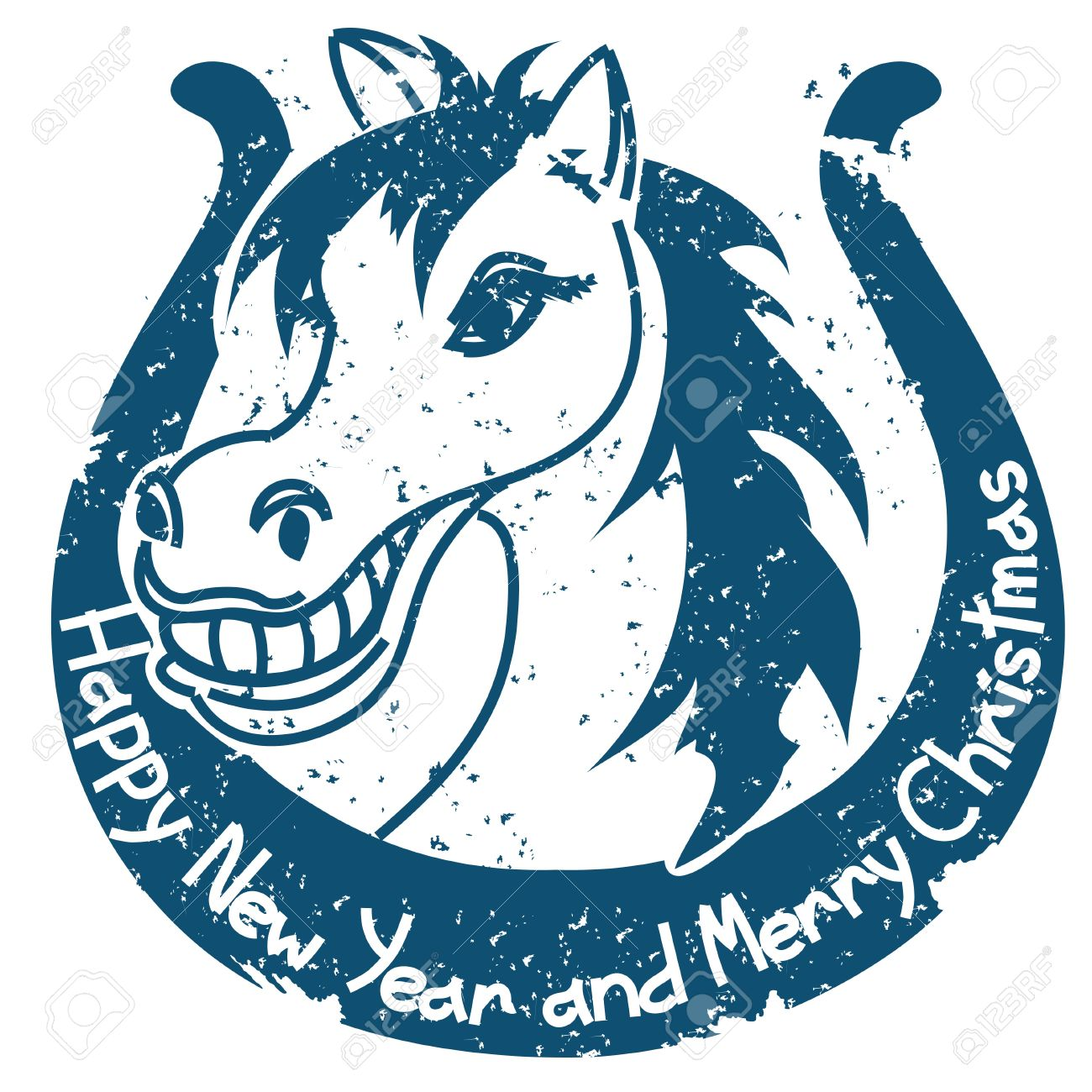 New Year and Christmas stamp with horse and horseshoe.