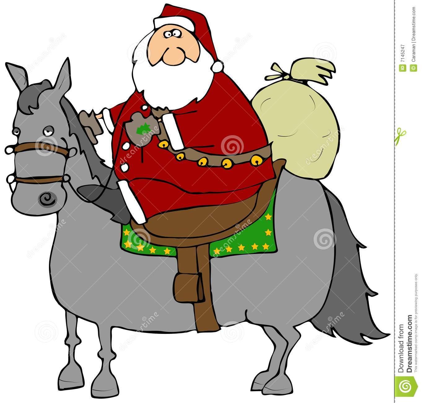 Santa Riding A Horse stock illustration. Illustration of christmas.