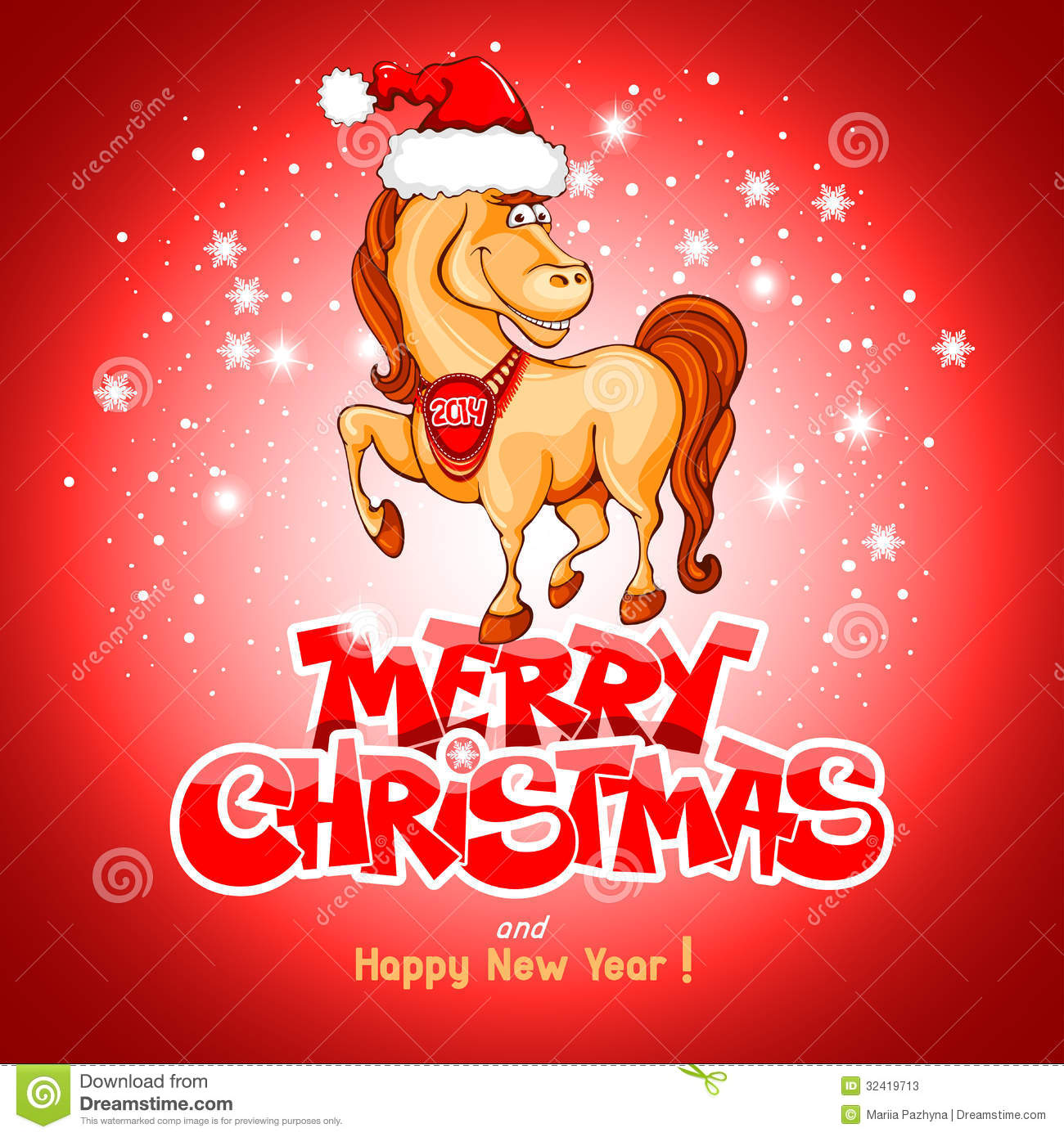 Merry Christmas Card Funny Horse Symbol Stock Illustrations.
