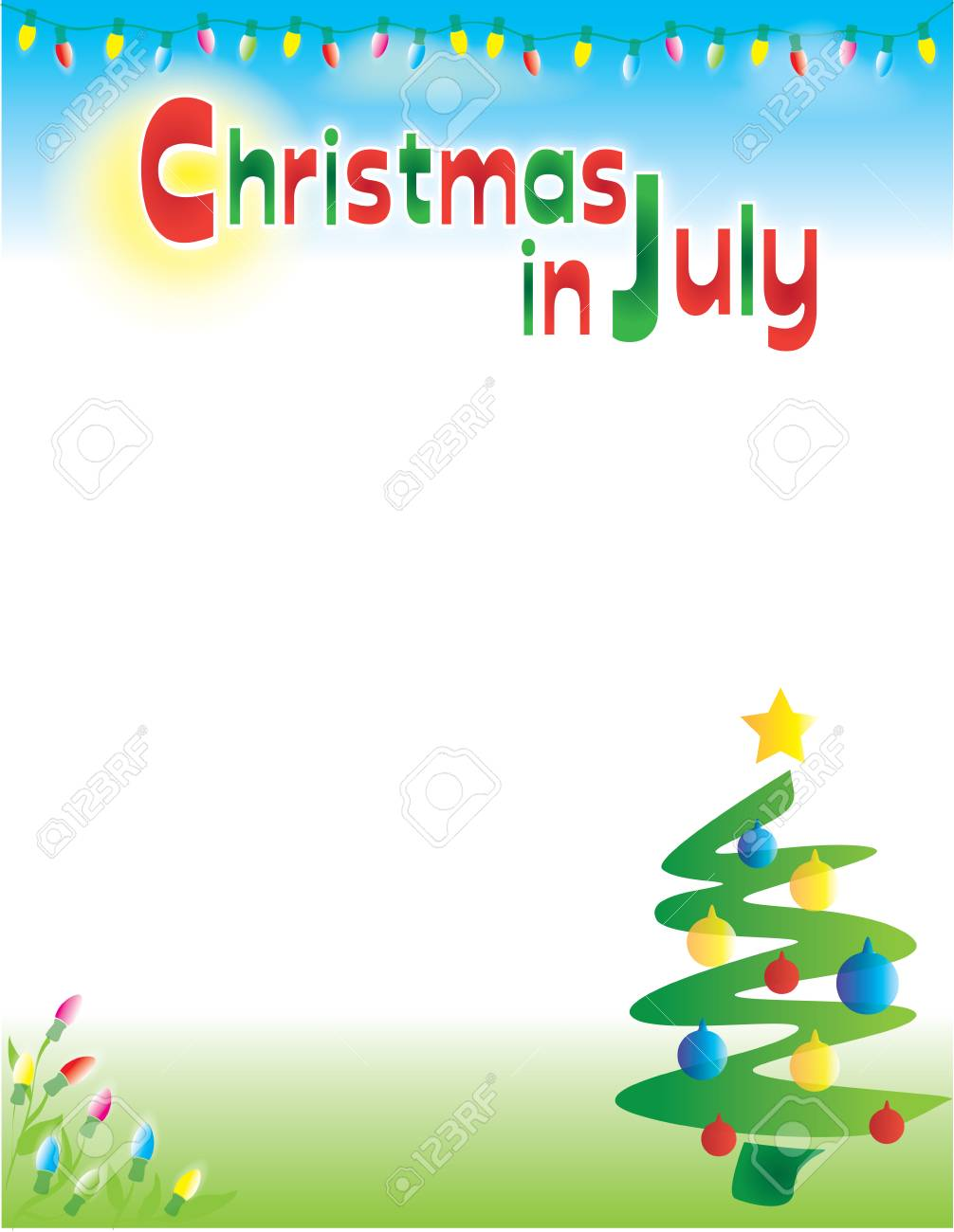 Christmas in July background template postcard flyer..