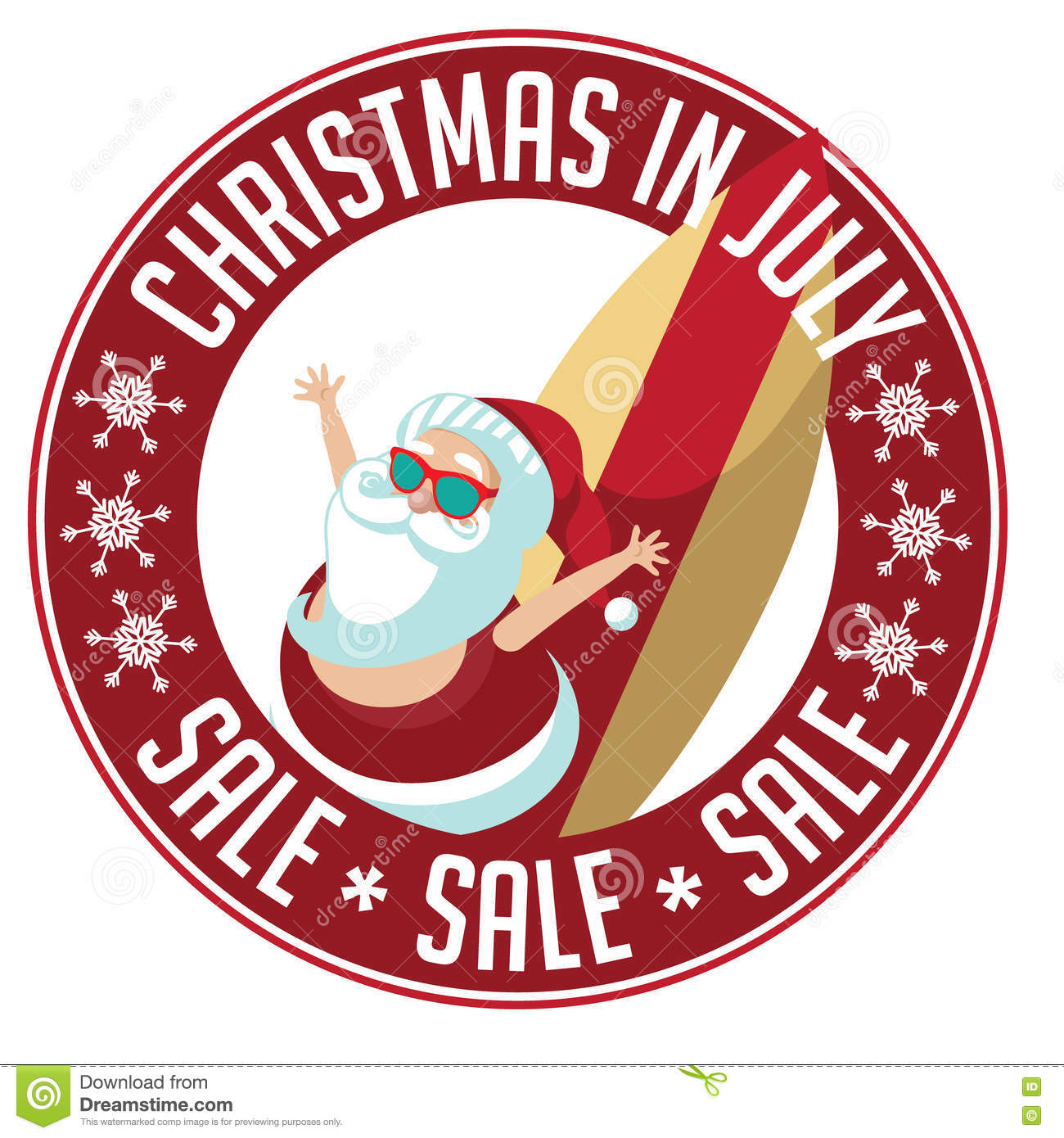 Christmas In July Sale Stamp. Stock Vector.