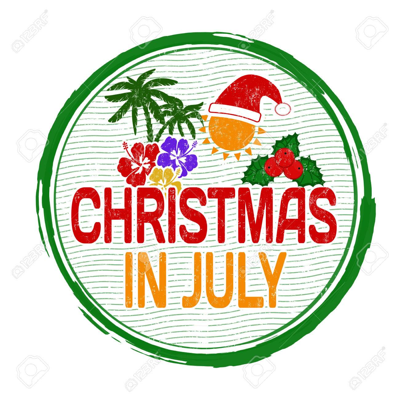 Christmas in july grunge rubber stamp on white, vector illustration.