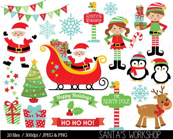 Christmas Clipart, Christmas Clip Art, Elf, Elves, Santa, Sleigh.