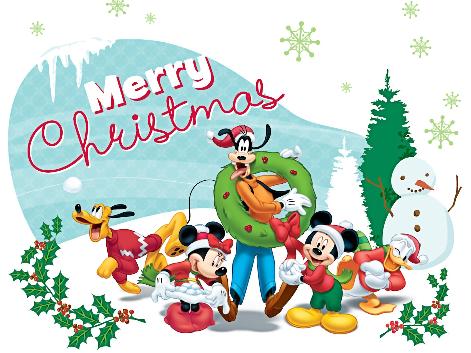 Mickey Mouse Christmas Desktop Clipart.