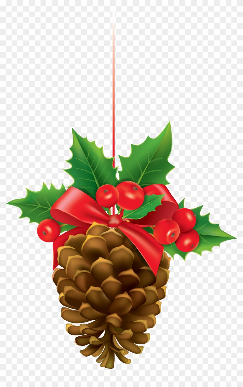 Christmas Pinecone With Mistletoe Clipart Image.