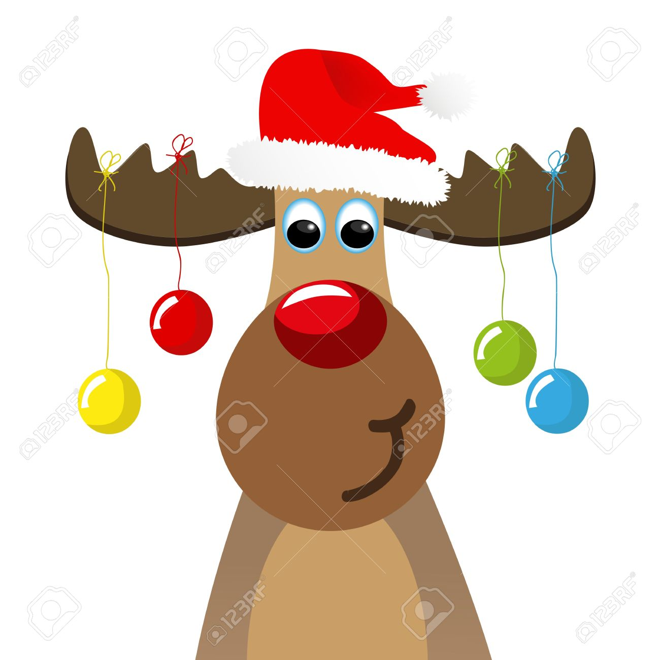 Funny moose with christmas balls.