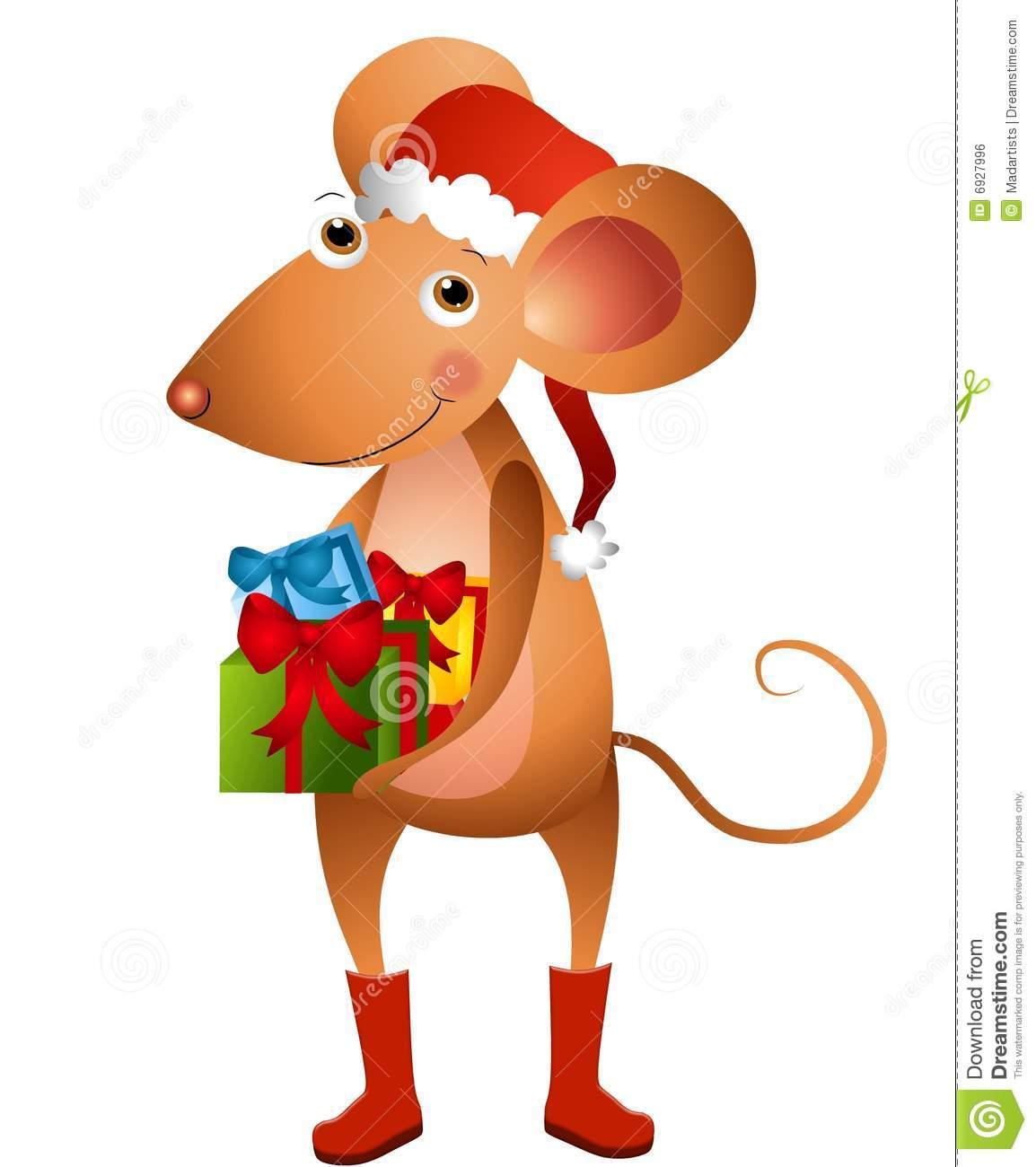 Cartoon Mouse Santa stock illustration. Illustration of santa.