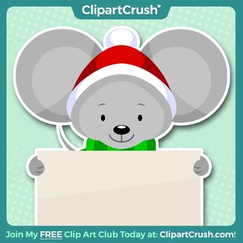 Royalty Free Cartoon Christmas Mouse Clipart.