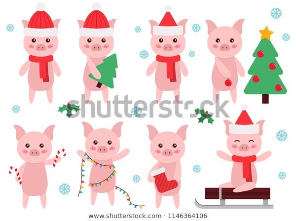 Cute Cartoon Pig Clipart New Year Stock Vector (Royalty Free) 1146364106.