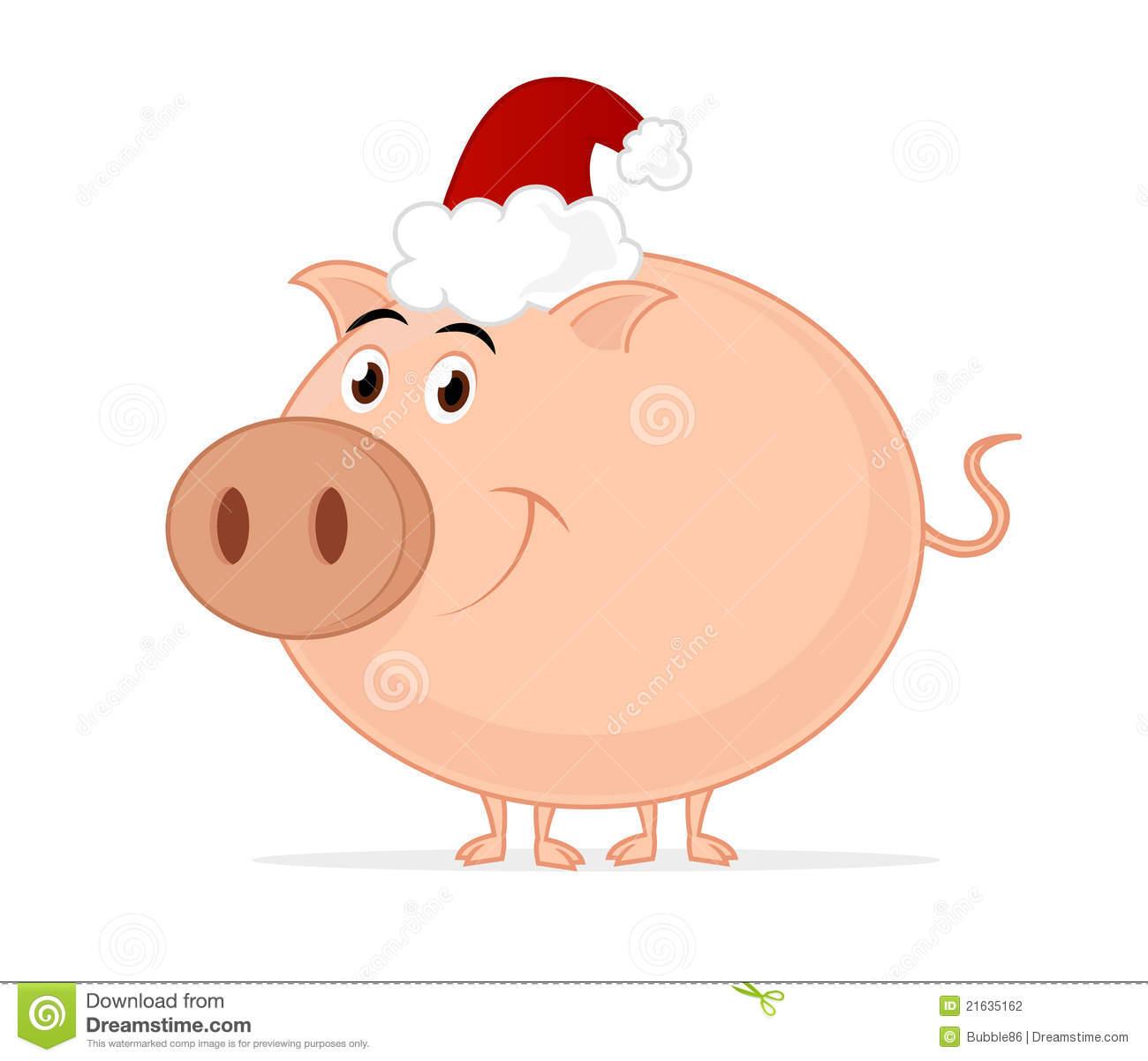 Santa clipart pig.