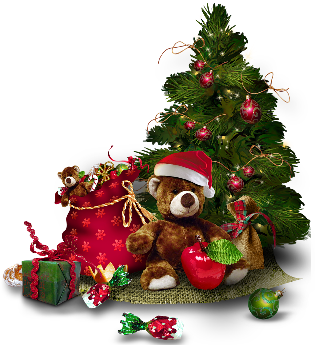 Transparent Christmas Tree with Teddy Bear PNG Clipart.