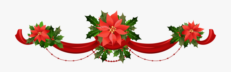 Transparent Christmas Garland With Poinsettias Png.