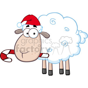 royalty free rf clipart illustration christmas sheep cartoon character  vector illustration isolated on white . Royalty.