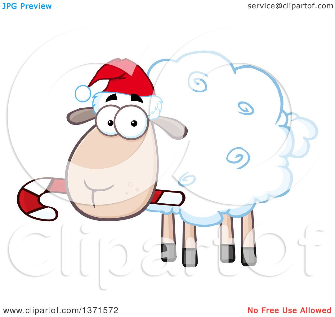 Clipart of a Cartoon Christmas Sheep Wearing a Santa Hat and Chewing.