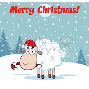 royalty free rf clipart illustration christmas sheep cartoon character  vector illustration greeting card . Royalty.