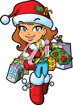 Christmas Shopping clipart images and royalty.