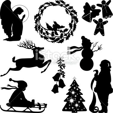 Christmas silhouettes including praying angel, wreath with.