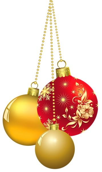 Free Christmas Silver And Gold Ornament Clipart 2x4.