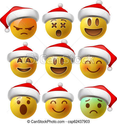 Christmas Smiley face emojis or yellow emoticons in glossy 3D realistic  with Santa's hat, vector illustration..