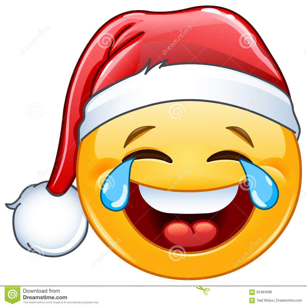 Tears Of Joy Emoticon With Santa Hat.