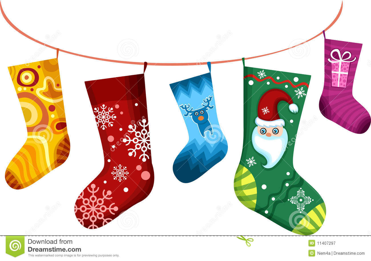 Christmas stocking stock vector. Illustration of clothesline.