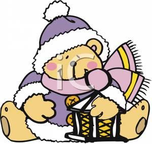 A Christmas Teddy Bear Holding A Lantern.