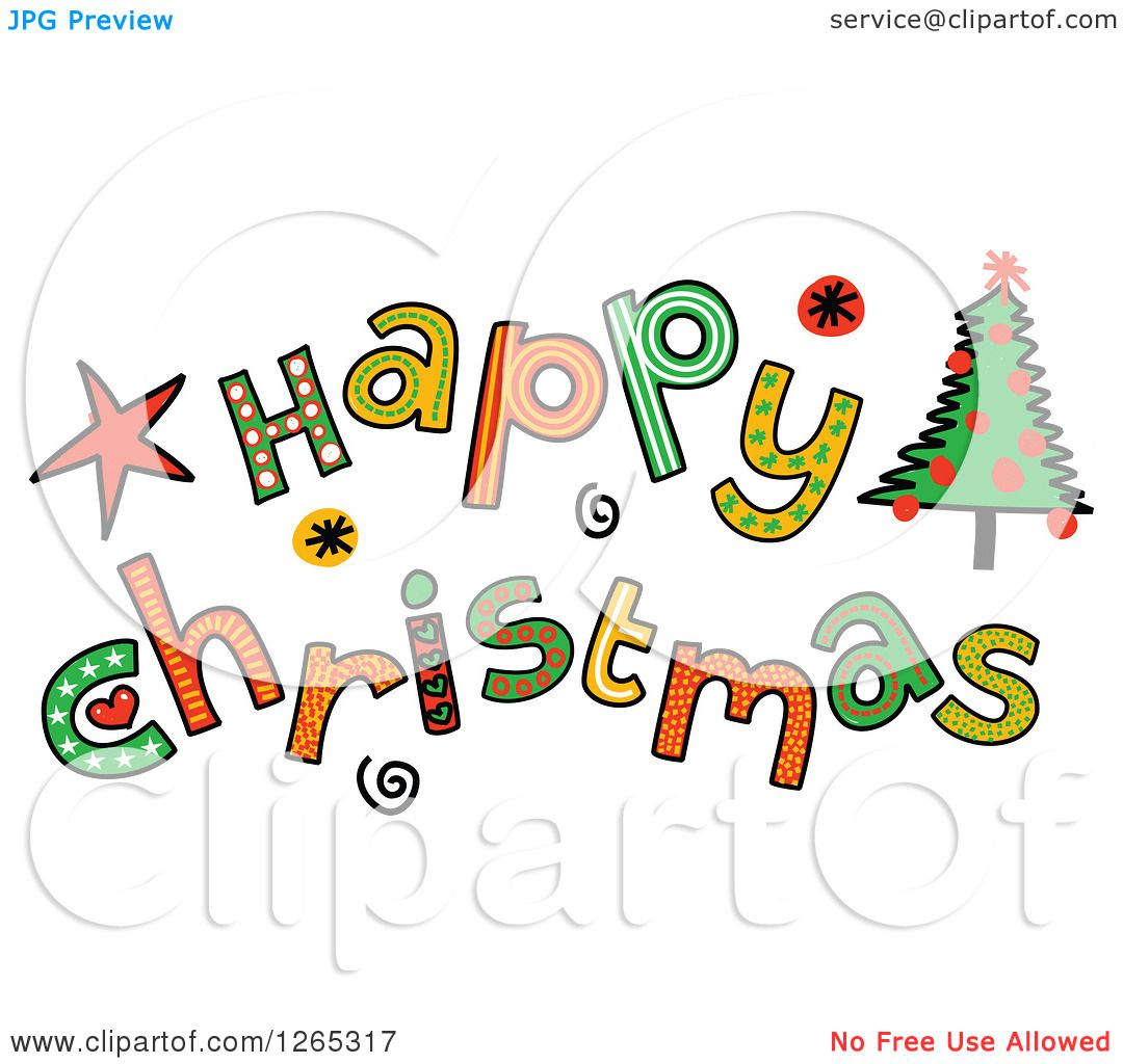 Clipart of Colorful Sketched Happy Christmas Text.