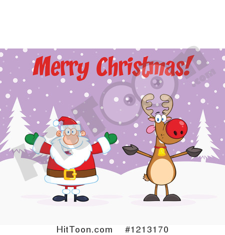 Christmas Clipart #1213170: Happy Santa and Reindeer Under Merry.