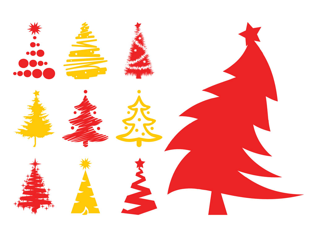 Christmas Trees Silhouettes Vector Art & Graphics.