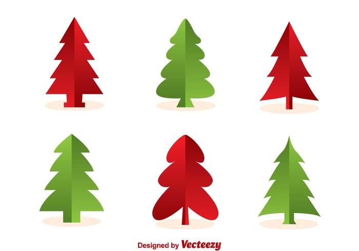 Christmas Tree Silhouette Vectors.