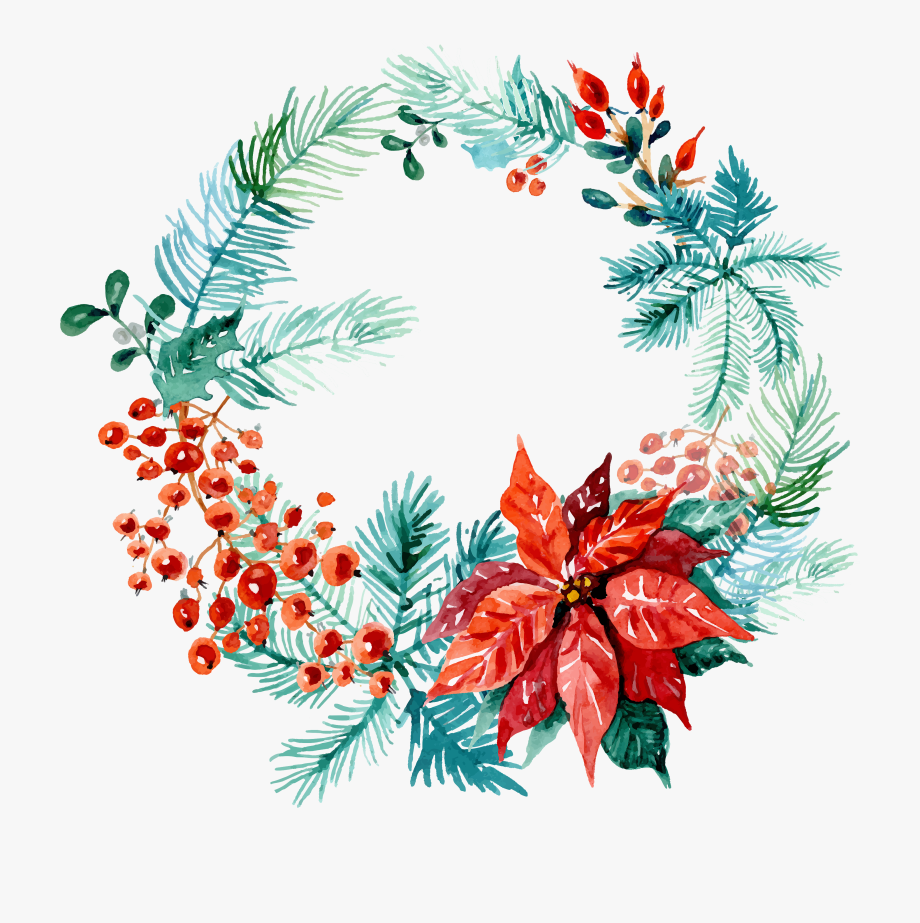 Free Christmas Watercolor Wreaths Images Web.