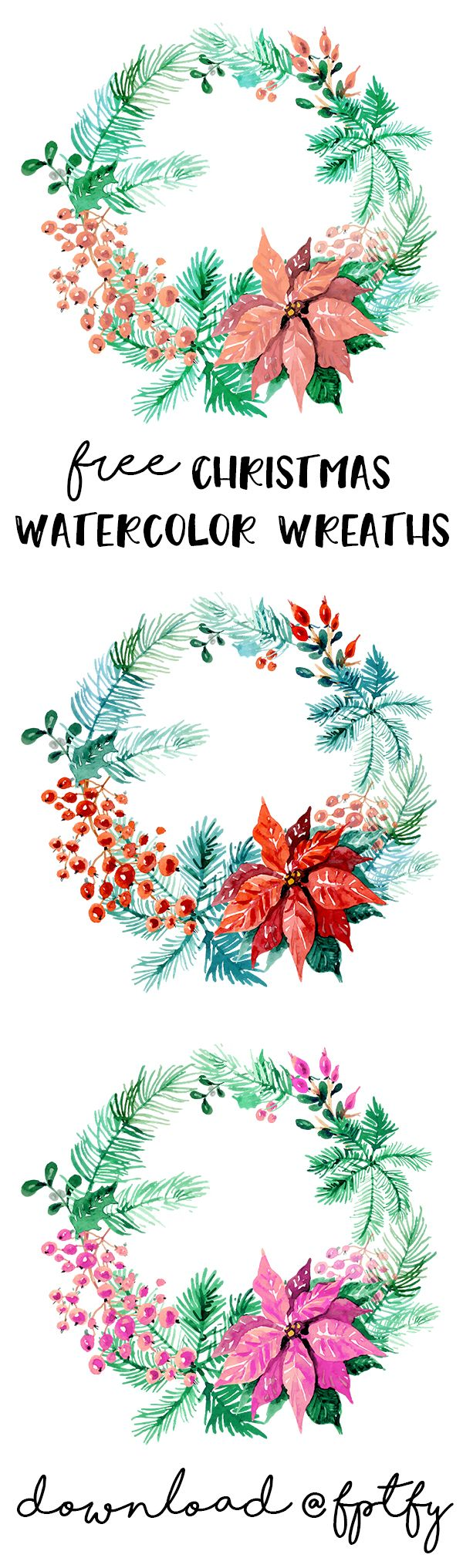 Free Christmas Watercolor Wreaths.