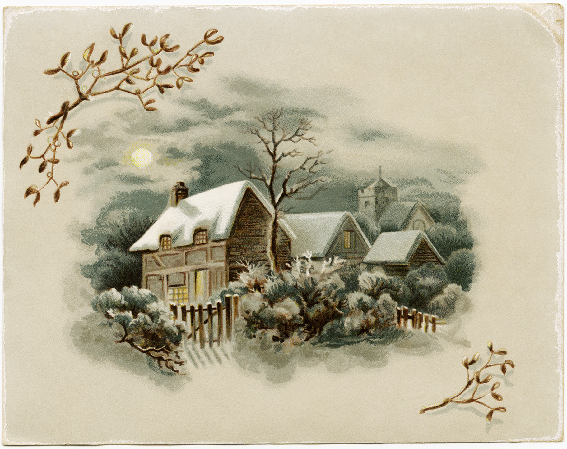 Winter Scene Victorian Card ~ Free Download.