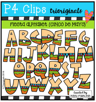 FREE FIESTA (Cinco de Mayo) Alphabet (P4 Clips Trioriginals Clip Art).