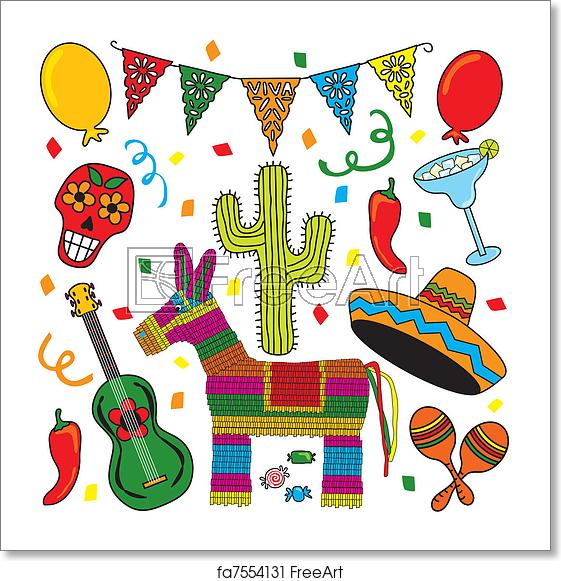 Free art print of Mexican Fiesta Clipart icons.
