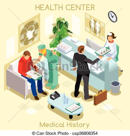 Clipart Vector of Clinic Wait Room Isometric People.