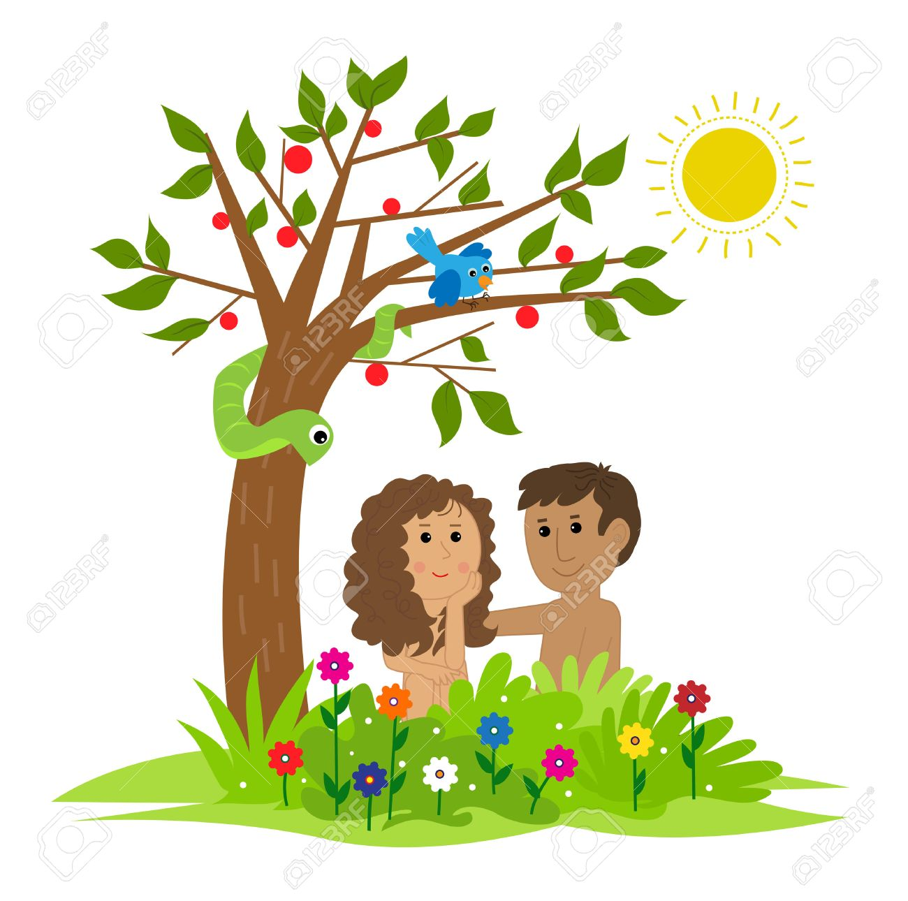 Cute clip art of Adam and Eve sitting under a tree in the garden...
