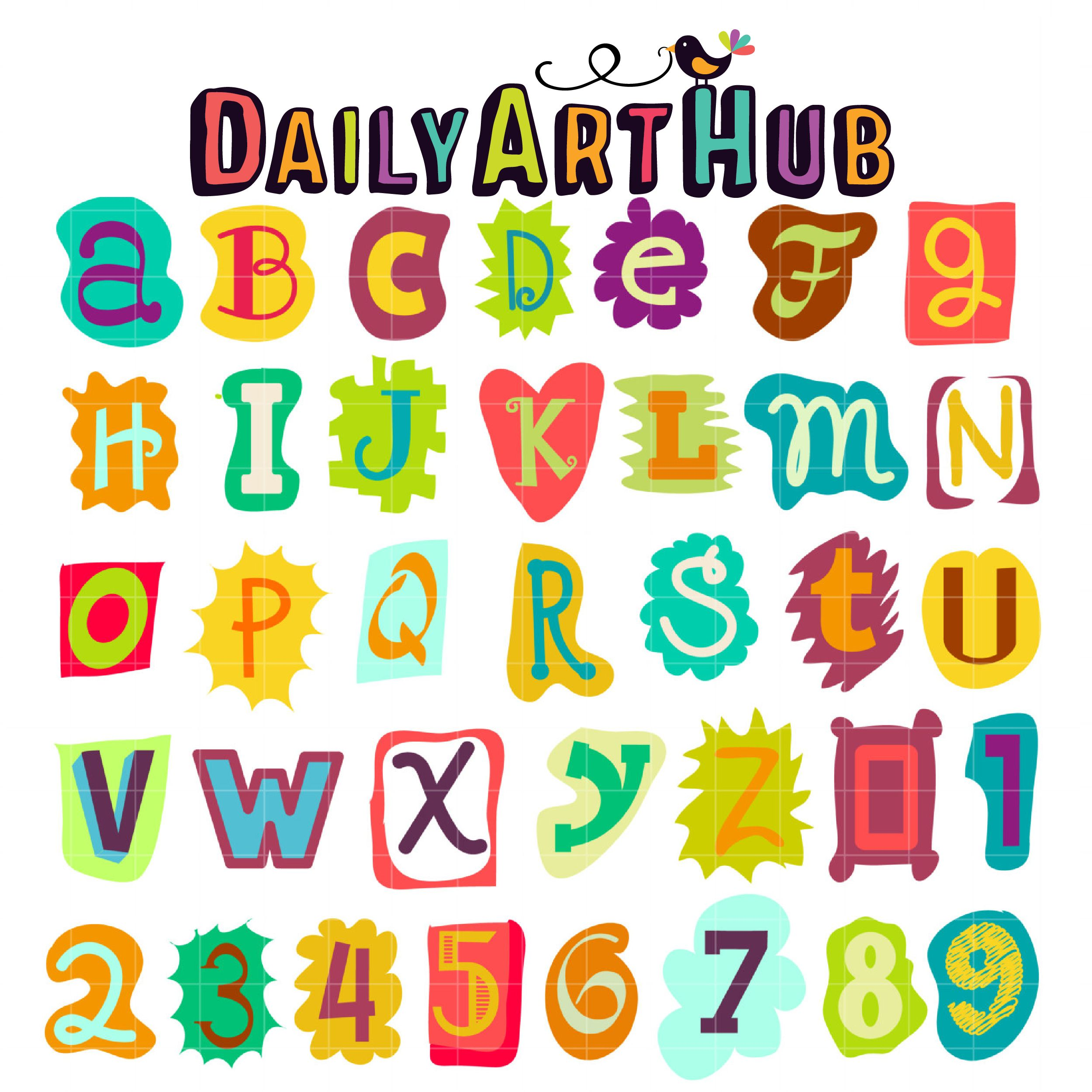 Funky Letters Clip Art Set.