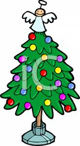 Cartoon of a Miniature Decorated Christmas Tree with an Angel Tree.