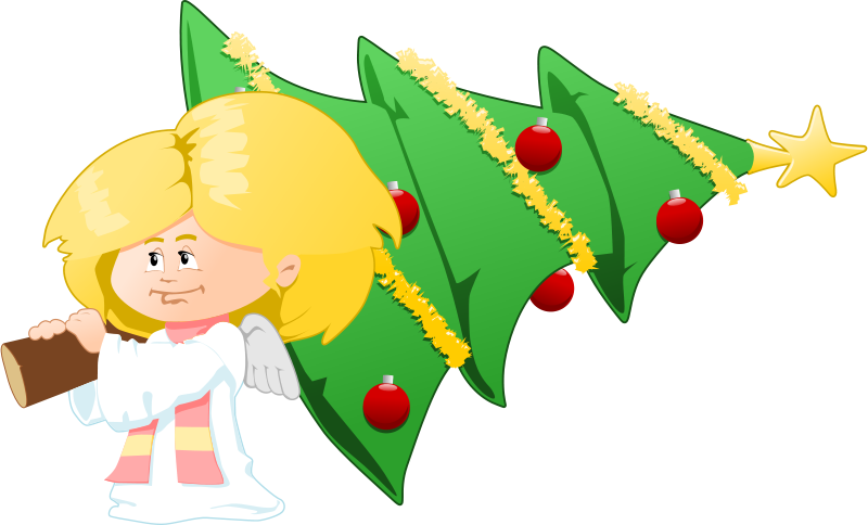 Free Clipart: Christmas tree carrying angel.