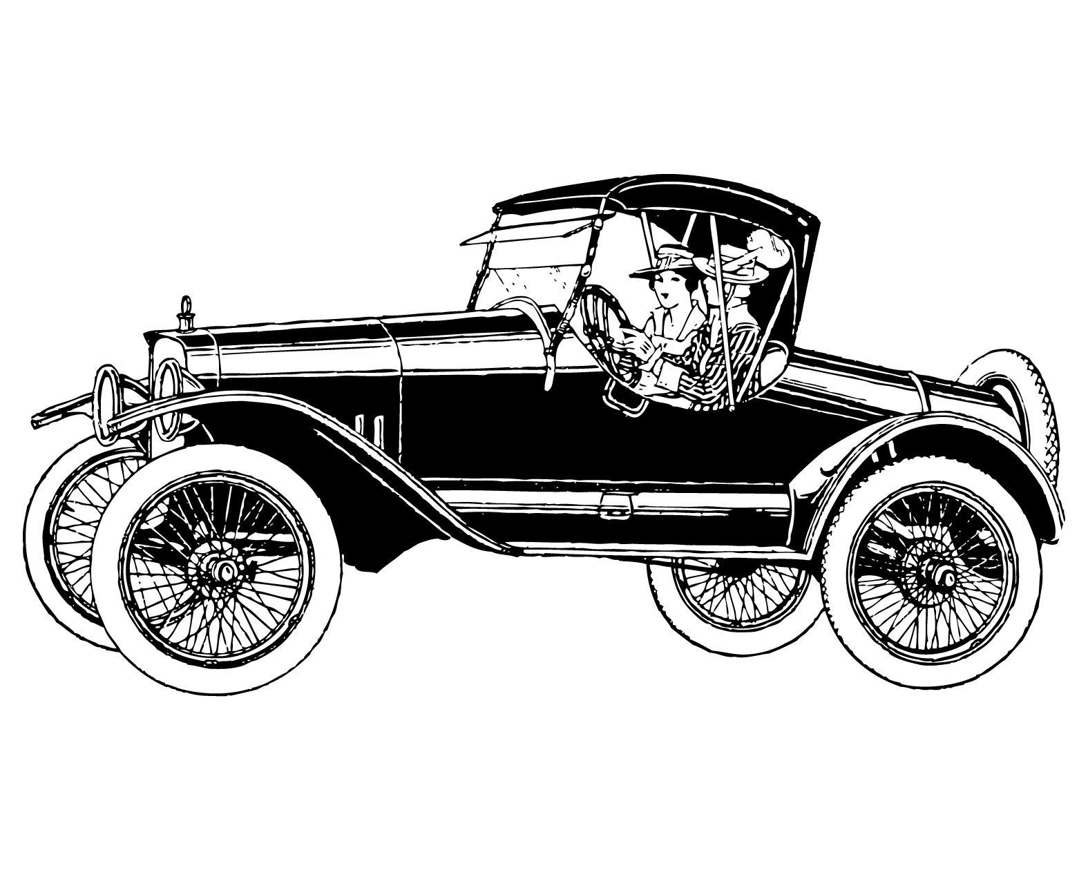 Free vintage clip art images: Vintage cars and coaches clip art.
