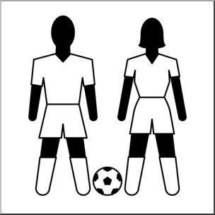 Clip Art: Athletes: Soccer B&W.