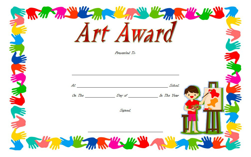 Art Award Certificate FREE Download for Kids 5.