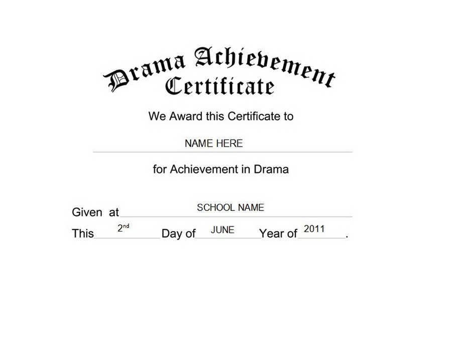 Drama Achievement Certificate Free Templates Clip Art & Wording.