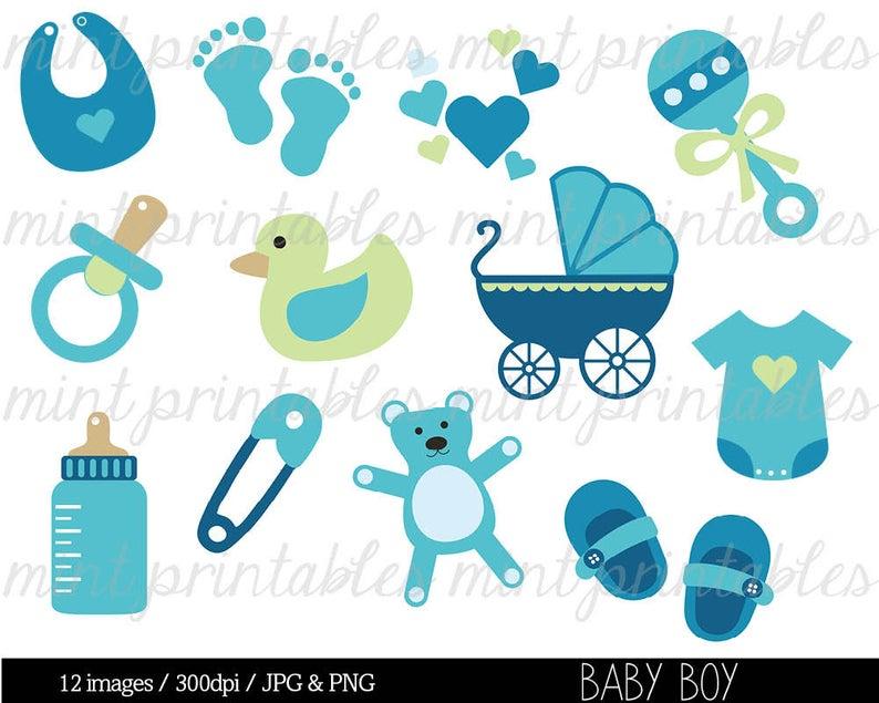 Baby Shower Clipart Clip Art, Baby Boy Clipart, Baby Clipart, blue, onesie  baby stroller.