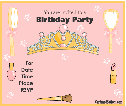 Free Printable Princess Birthday Party Invitations.