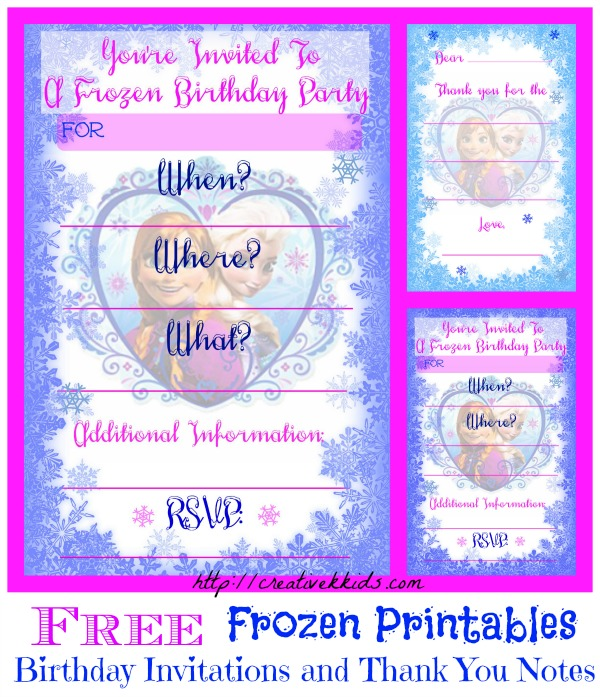 FREE Frozen Birthday Party Invitation and Thank You Printables.